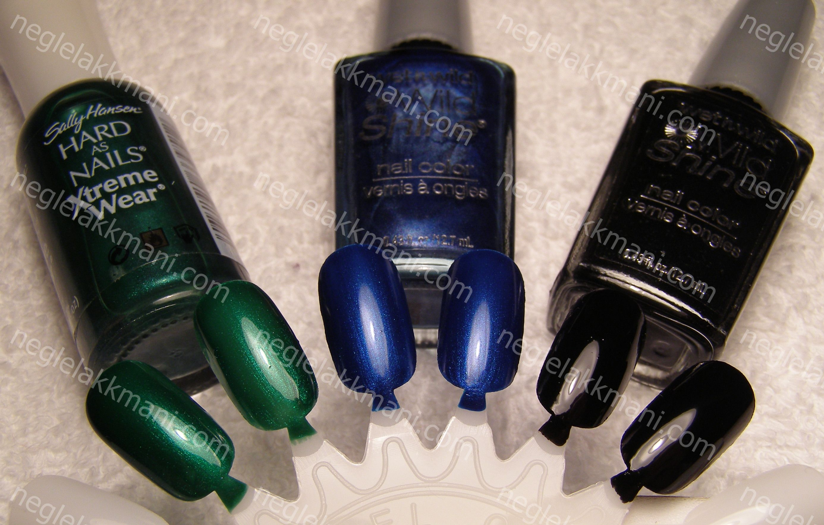 L-R Sally Hansen Emerald City/WnW Blue Sapphire/WnW Black Creme