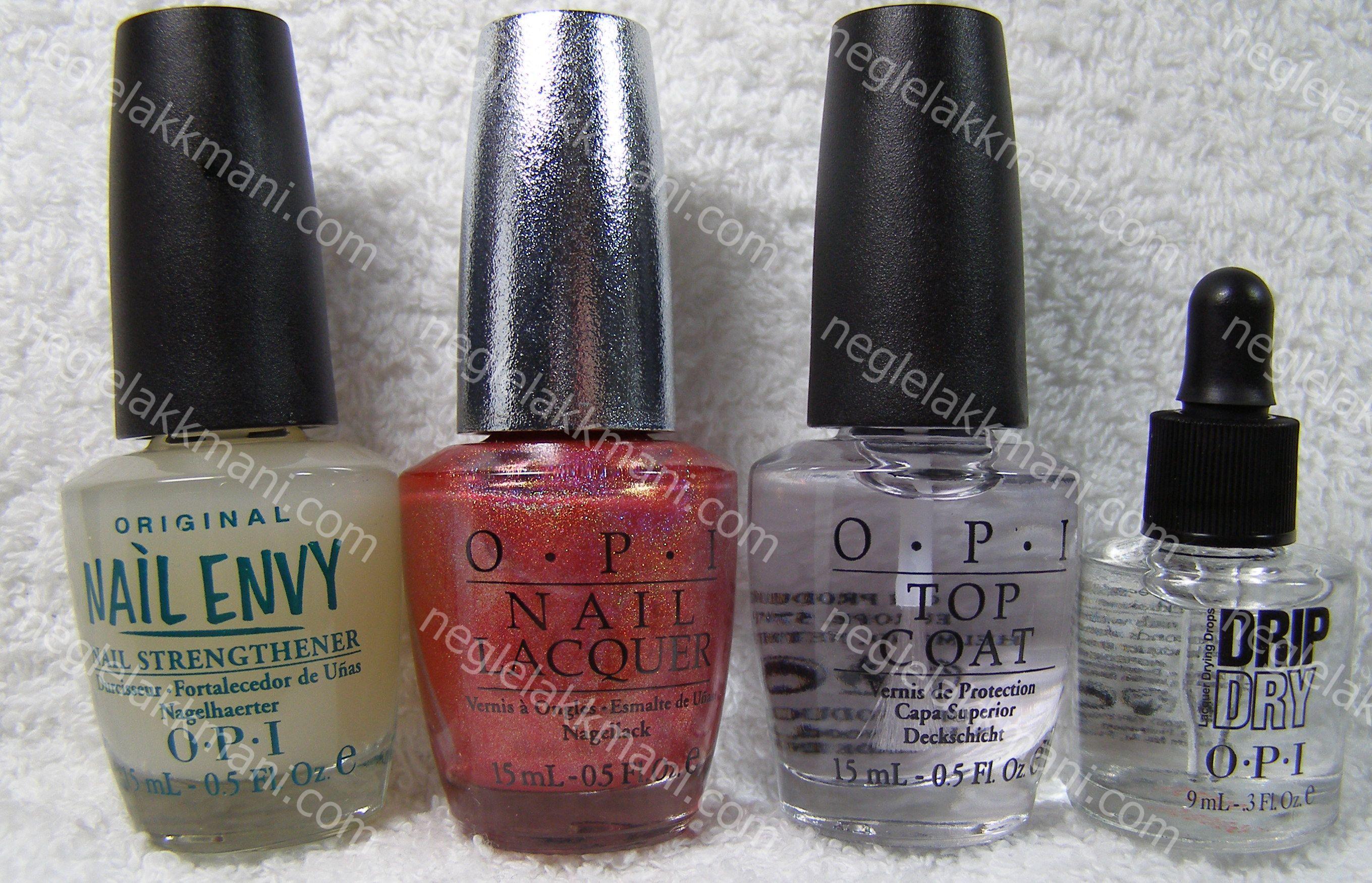 OPI Nail Envy, OPI DS ruby, OPI Top Coat & OPI Drip Dry