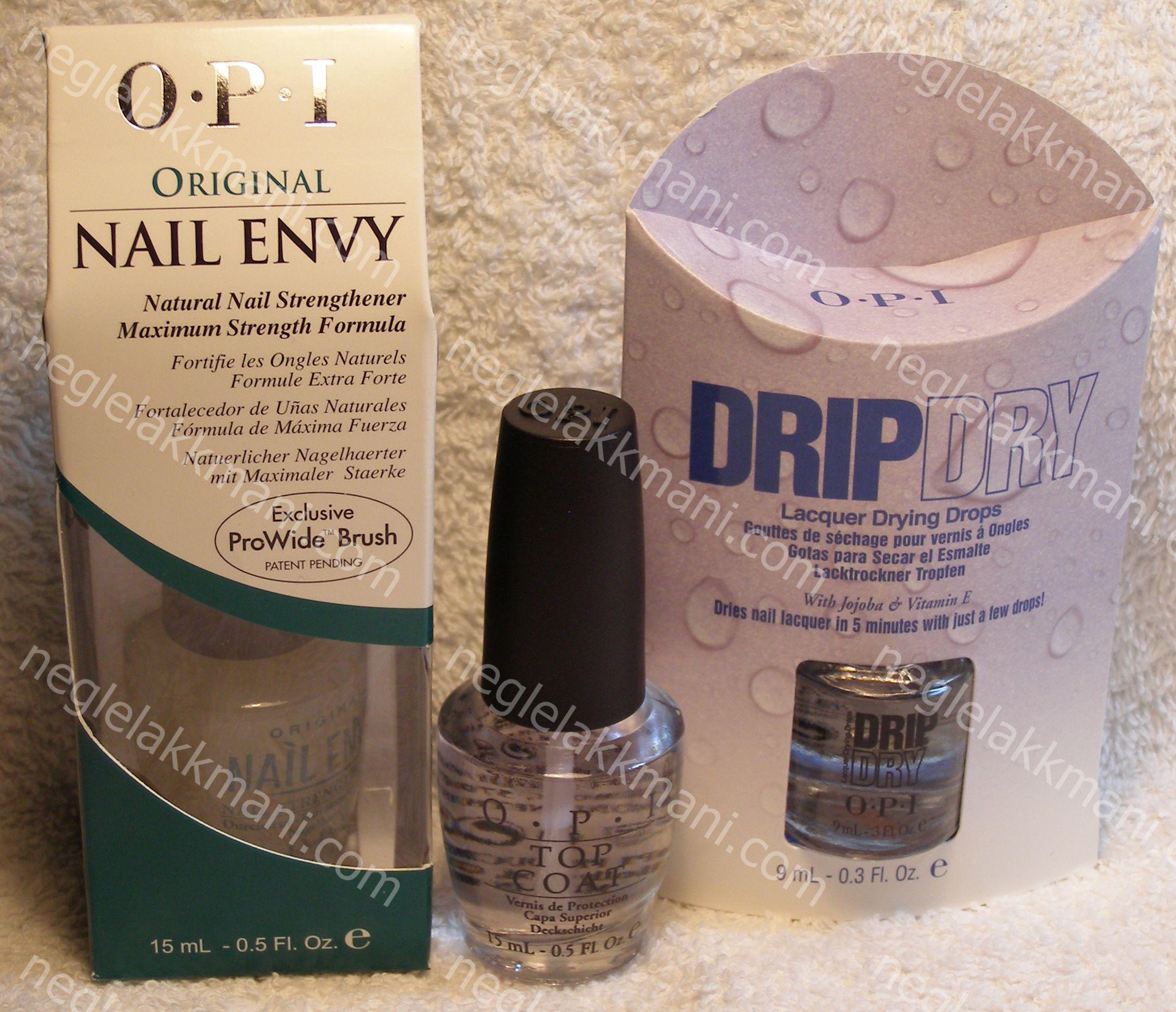 OPI Nail Envy, OPI Top Coat & OPI Drip Dry