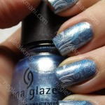 NOTD China Glaze Blue Island Iced Tea & Konad m51