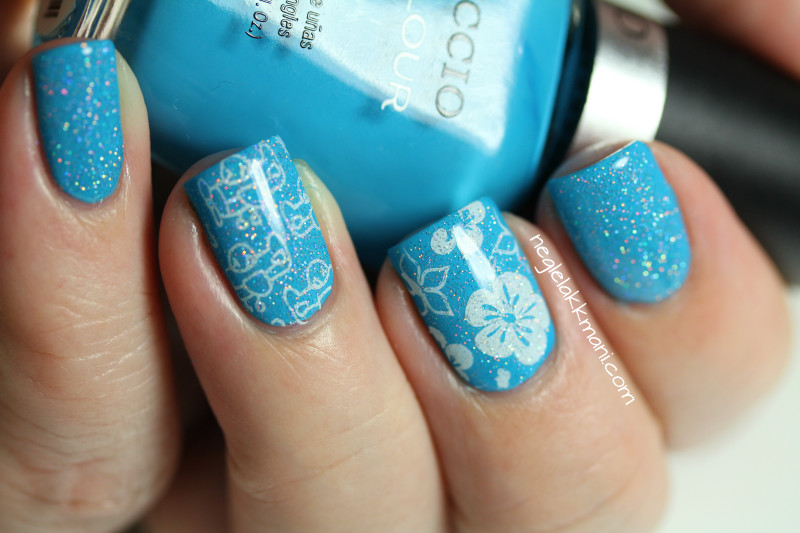 Cuccio St. Barts in a Bottle stamped with Cheeky Tropical Holiday and China Glaze Fairy Dust