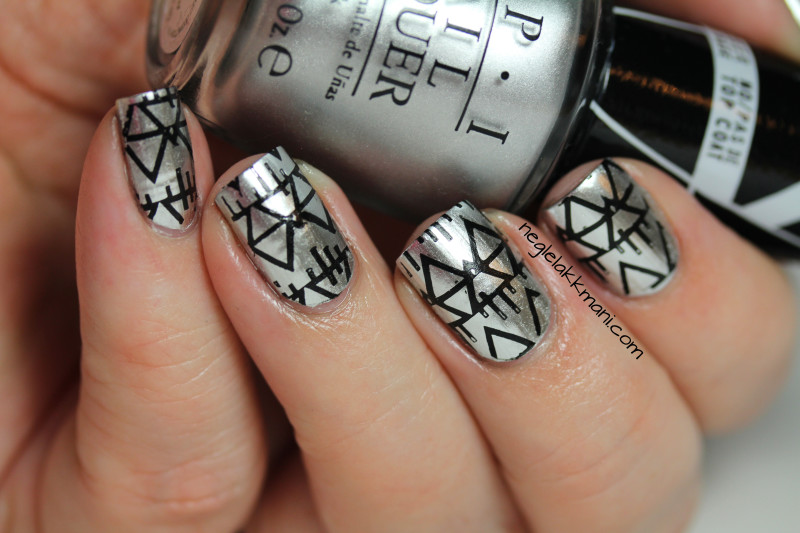 OPI Push and Shove stamped with MoYou Artist Collection-03 kopi