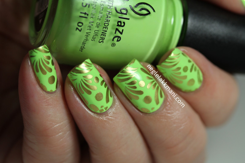 China Glaze Grass Is Lime Greener Cheeky Jumbo Plate Musical Nails
